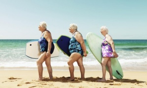 elderly women going surfing in Oz