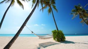 idyllic sunny beach